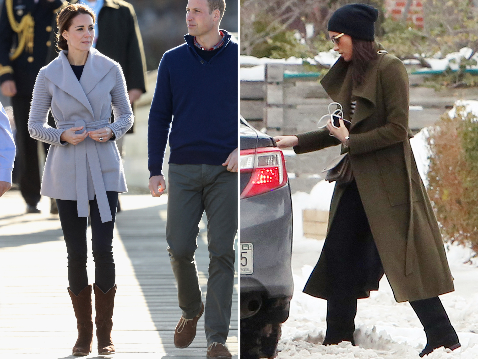 <p>Kate Middleton and Meghan Markle Coats</p>