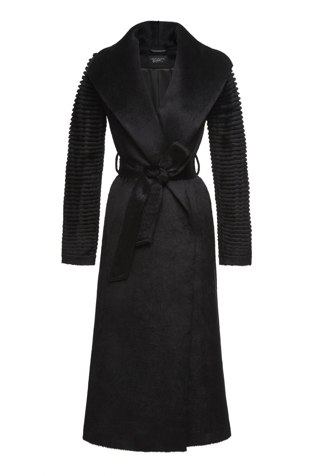 <p>long wrap coat with ribbed sleeves</p>