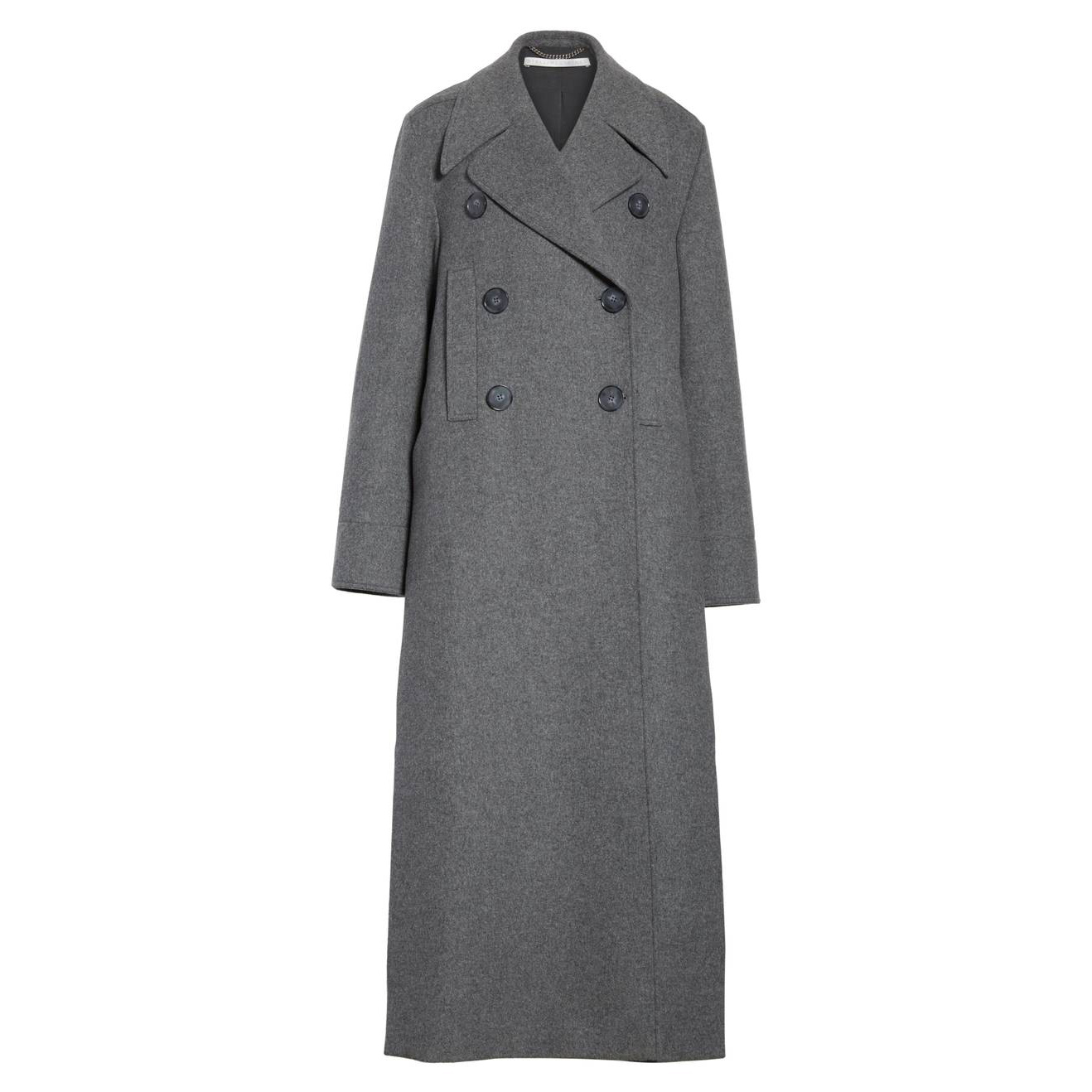 <p>Long Double Breasted Wool Blend Coat</p>