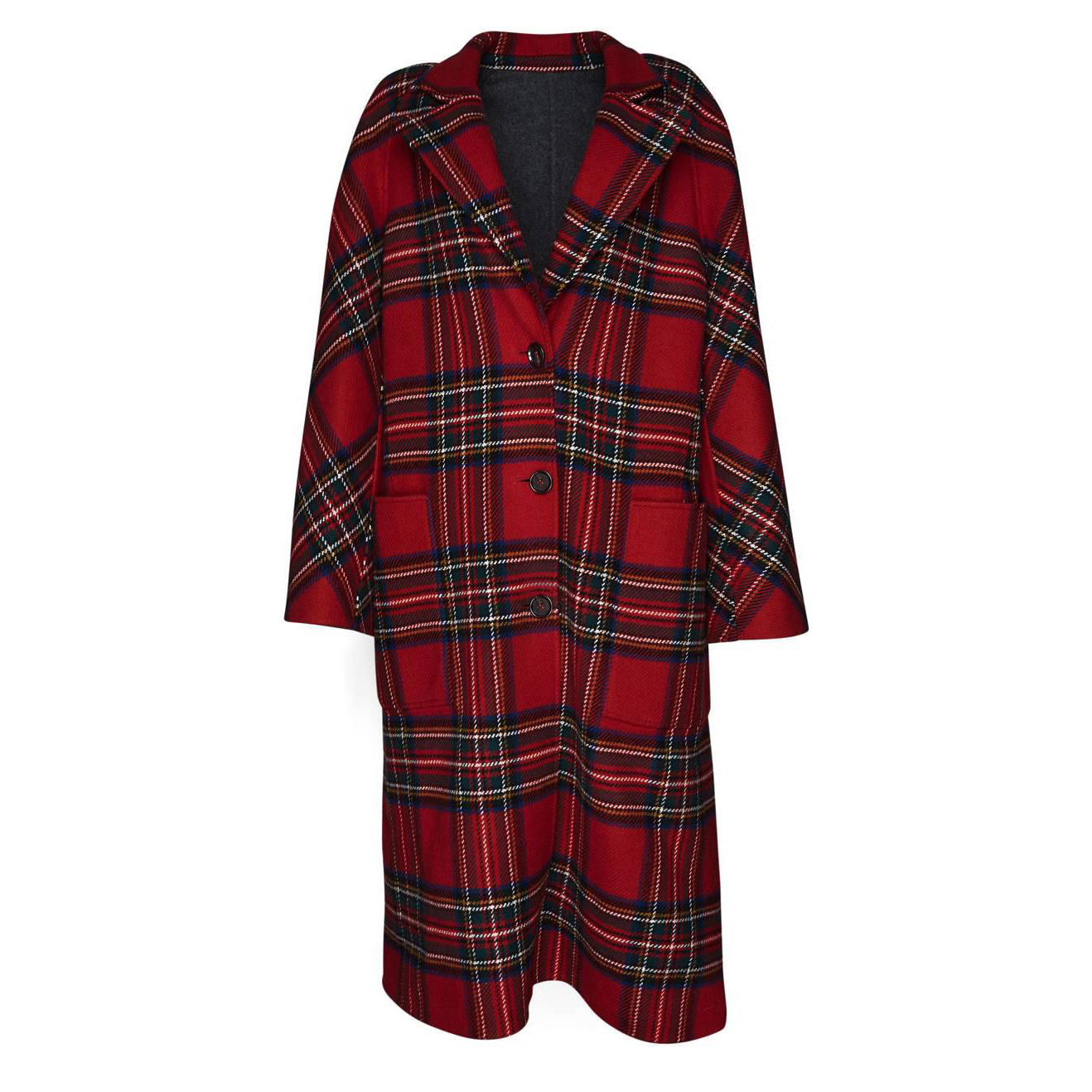 Scottish Tartan Wool & Cashmere Reversible Coat