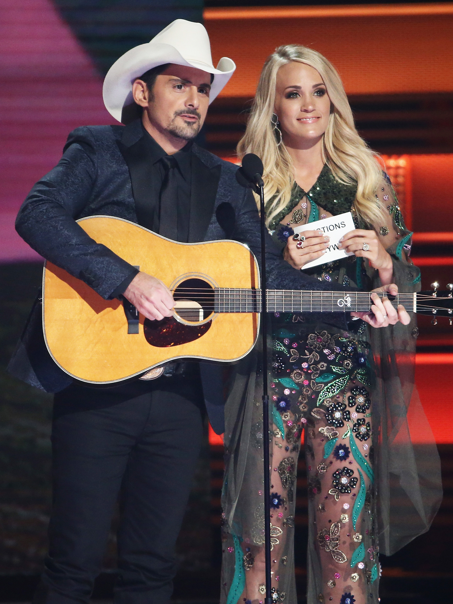 <p>Carrie Underwood in Sheer Embroidered Dress</p>