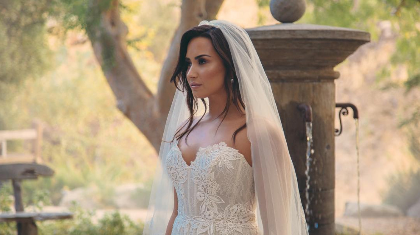 Demi Lovato posts wedding dress photo teaser online