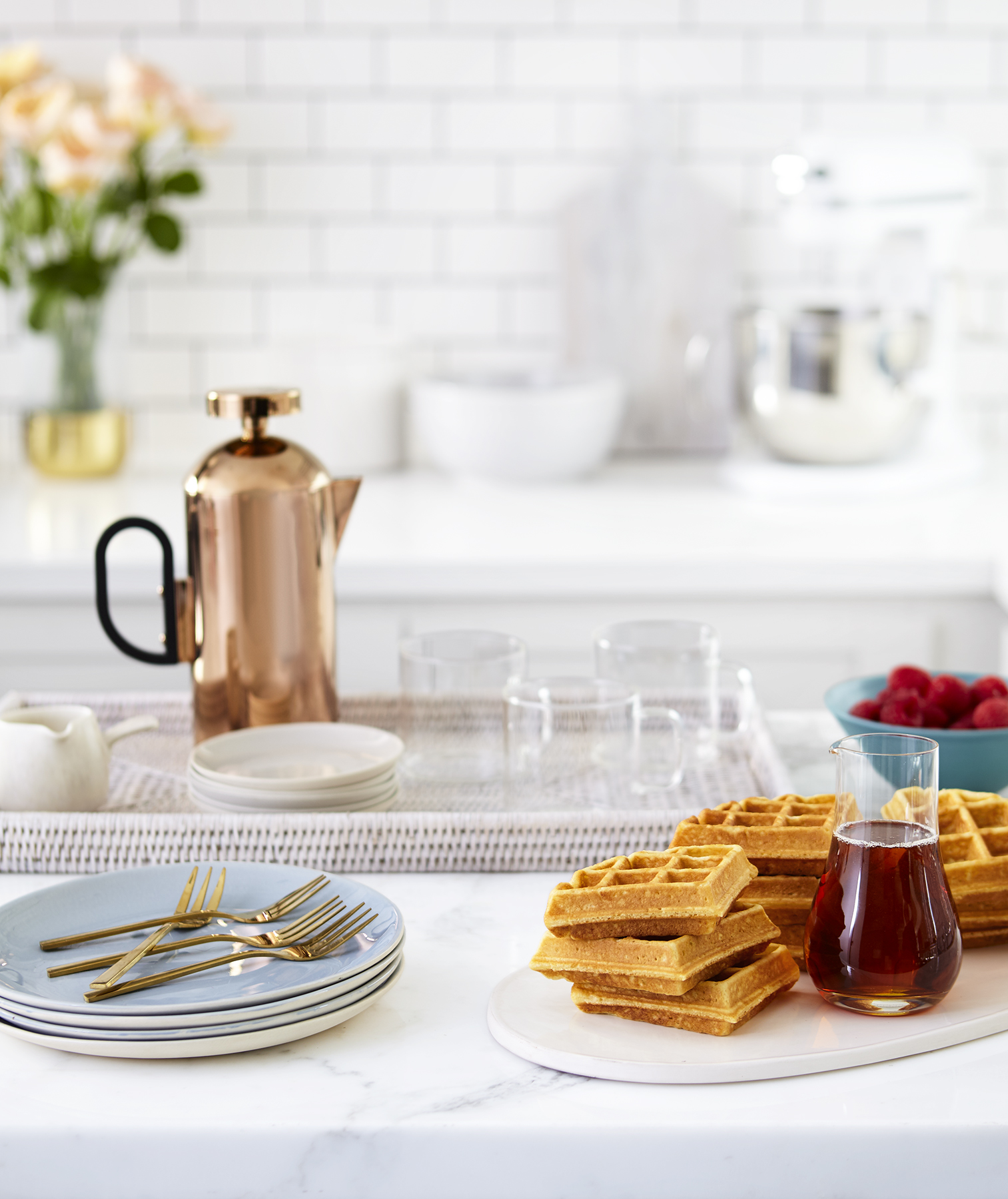 Kitchen with teapot, waffles