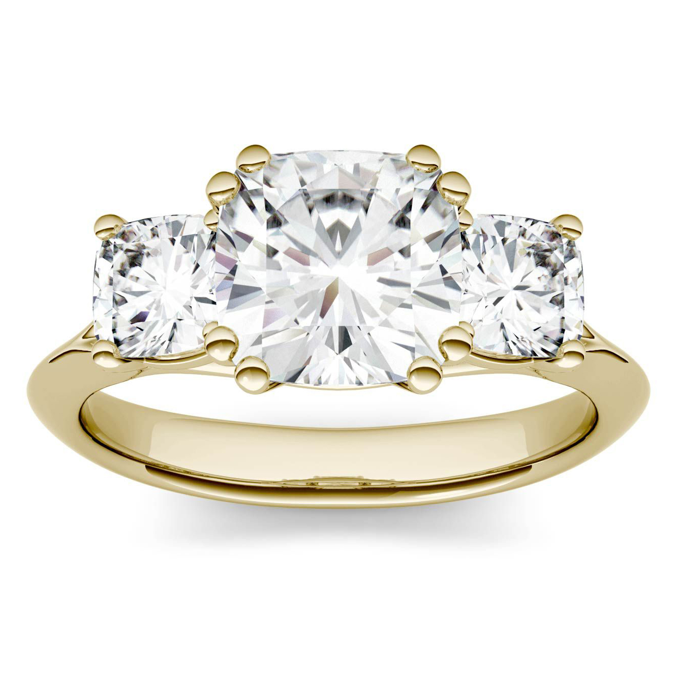 <p>Charles & Colvard Forever One Moissanite Three Stone Engagement Ring in 14K Yellow Gold</p>