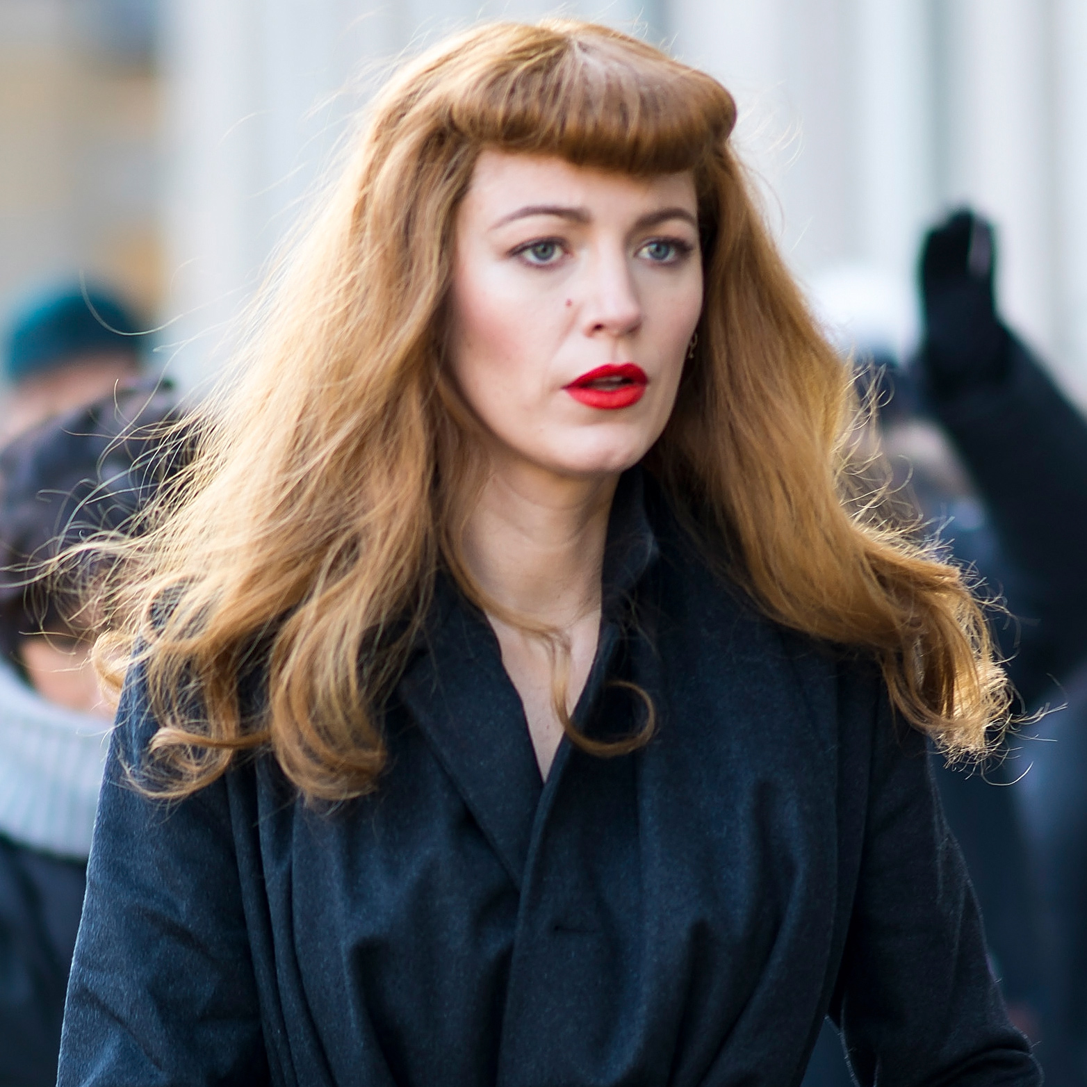 Blake Lively Wears Micro-Bangs and Red Hair on The Rhythm ...