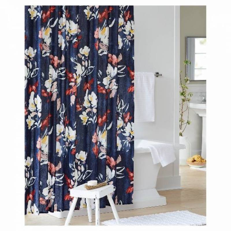 Floral Print Shower Curtain in navy blue