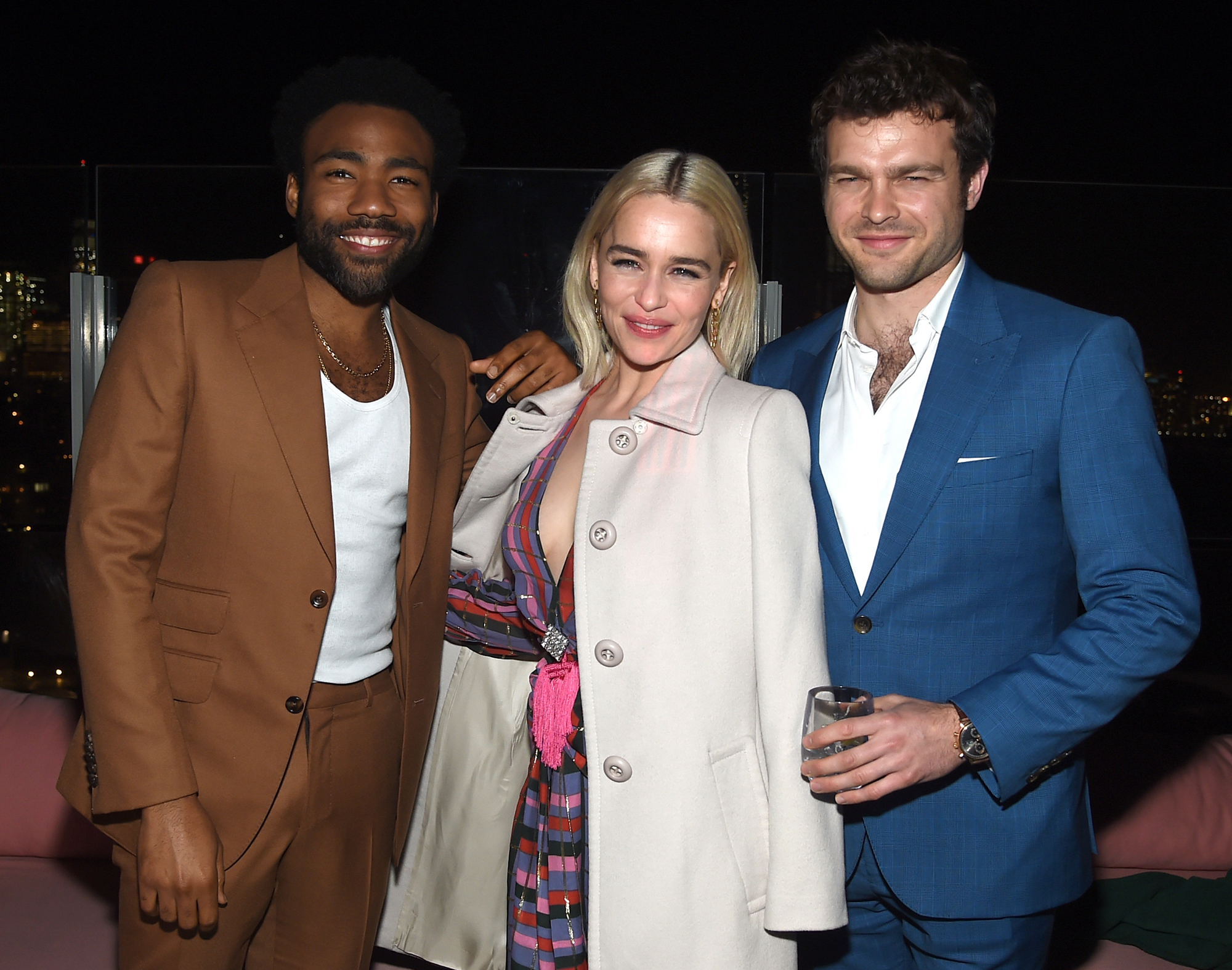<p>Donald Glover, Emilia Clarke, and Alden Ehrenreich</p>