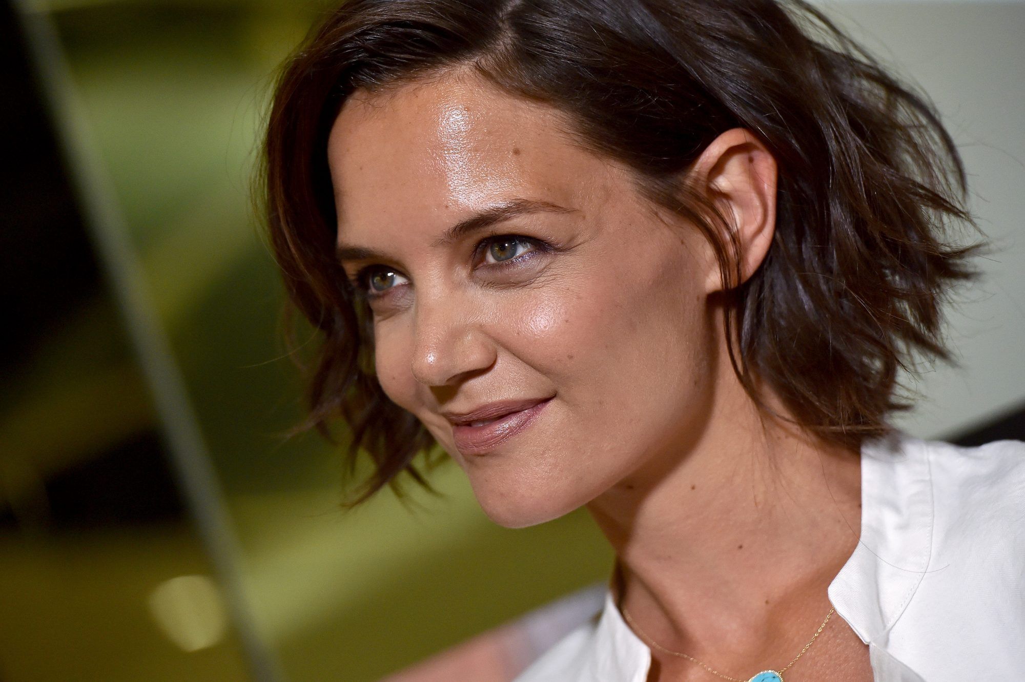 Katie Holmes Pre-Gamed Fashion Week in the Most Gloriously '80s Dress