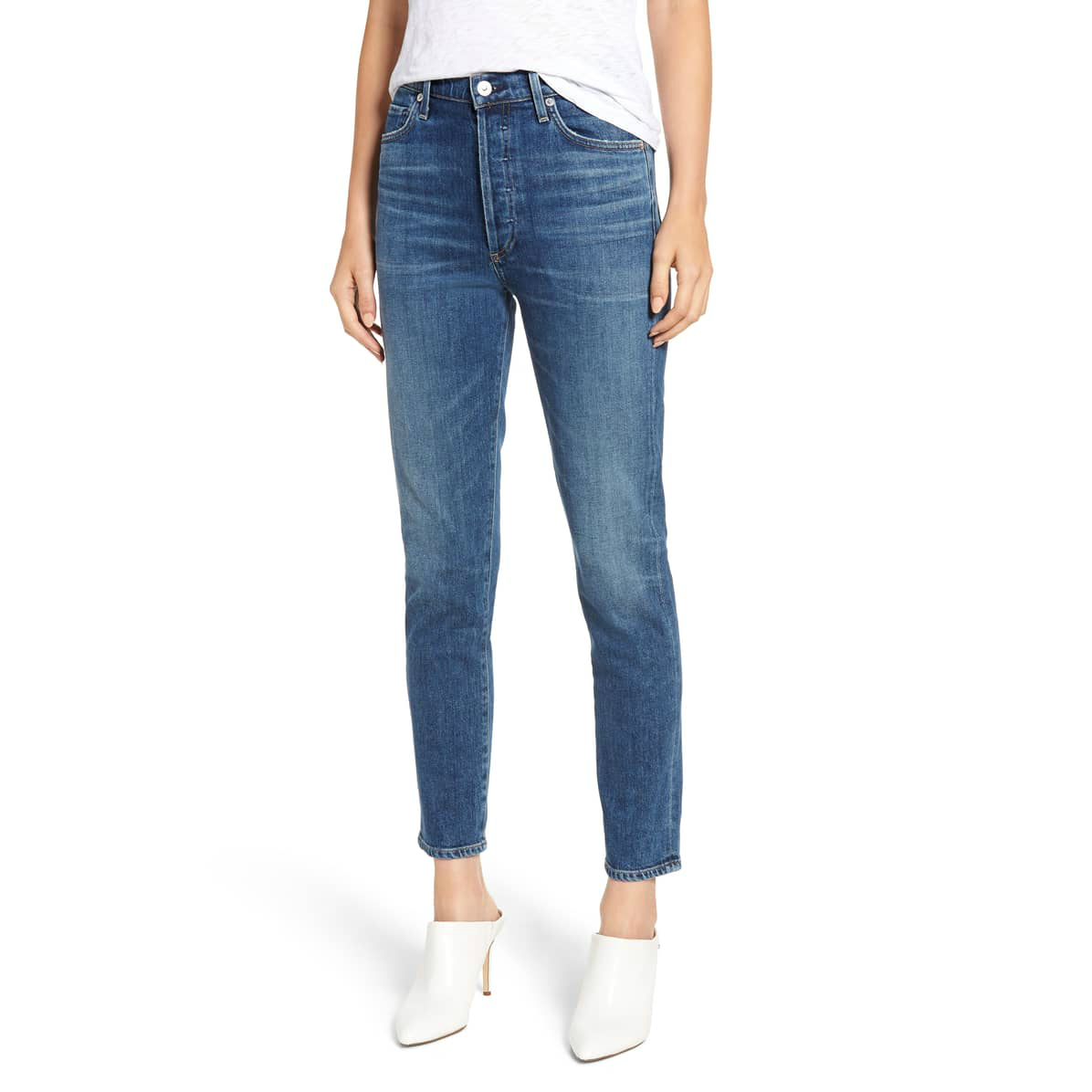 High Waist Ankle Slim Jeans