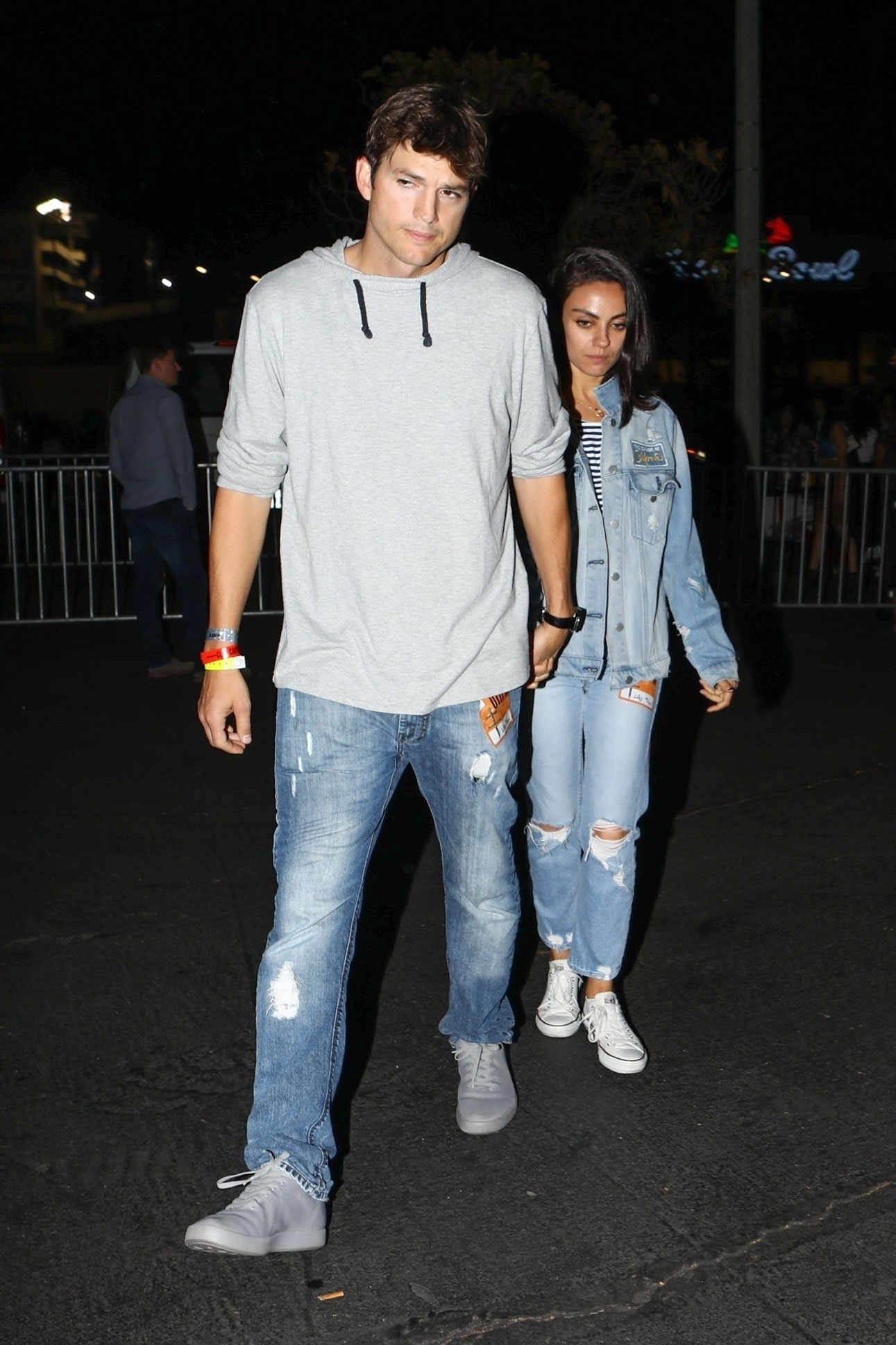 Mila Kunis And Ashton Kutcher Matched In Denim Outfits