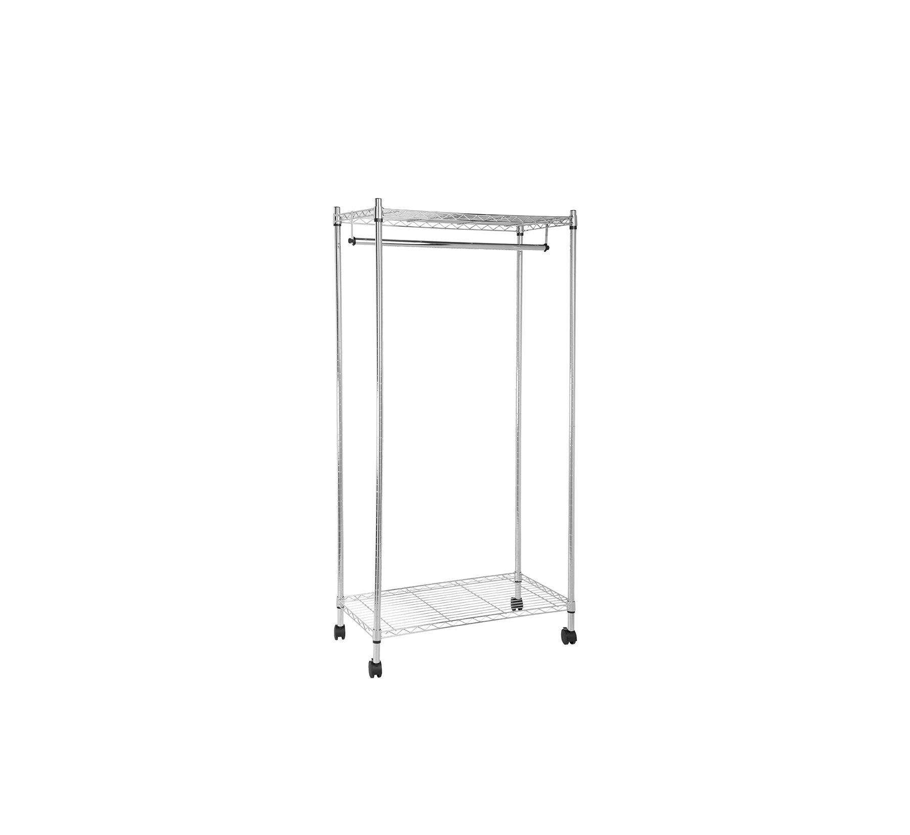 Best for Off-Season Storage: AmazonBasics Garment Rack with Top and Bottom Shelves
