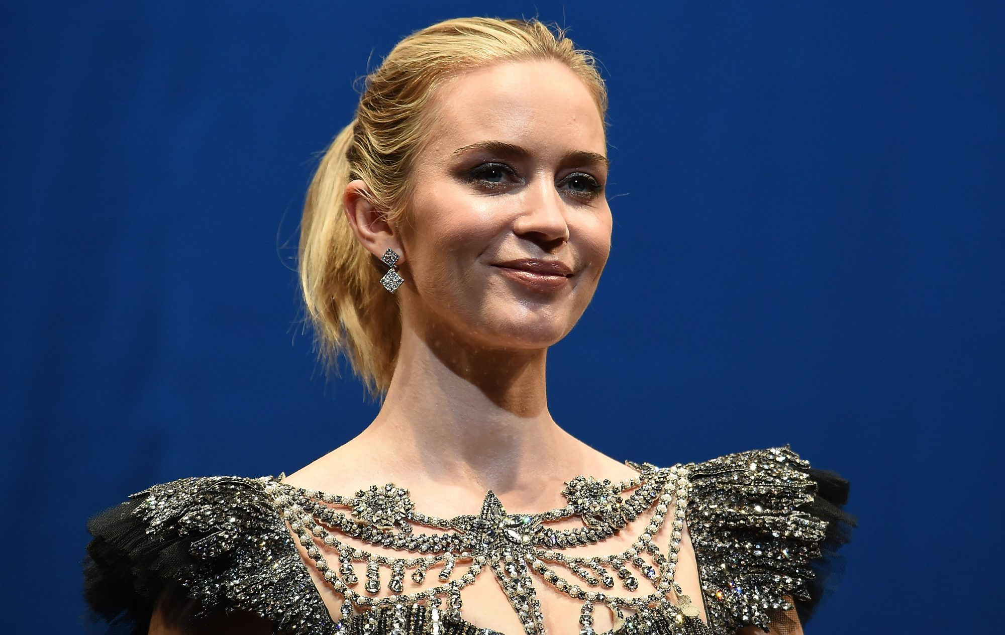 Emily Blunt Is a Blinged-Out Disney Princess in a Bustier-Cut Ball Gown