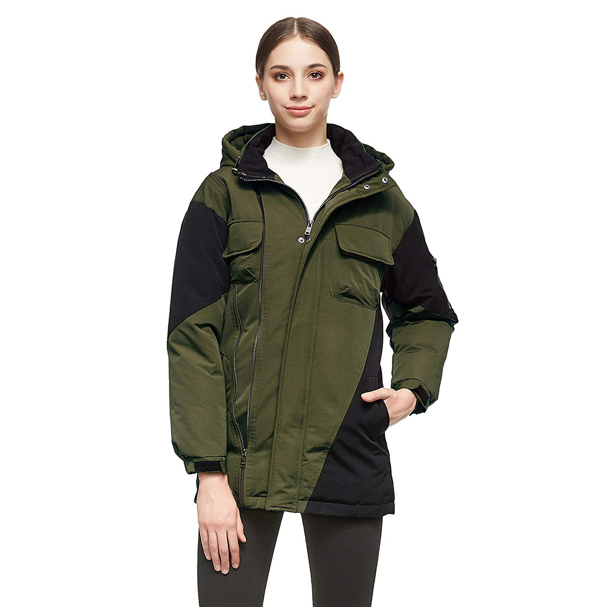 Orolay Women's Warm Down Mid-Length Color Blocking Jacket