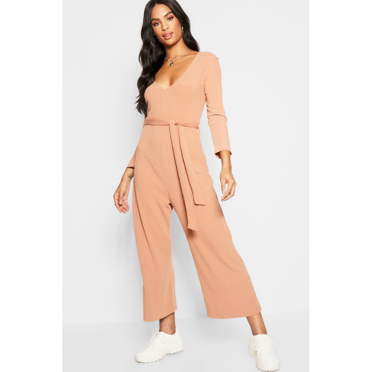 0bed1e91cf3 Boohoo Tall ¾ Sleeve Ribbed Culotte Jumpsuit