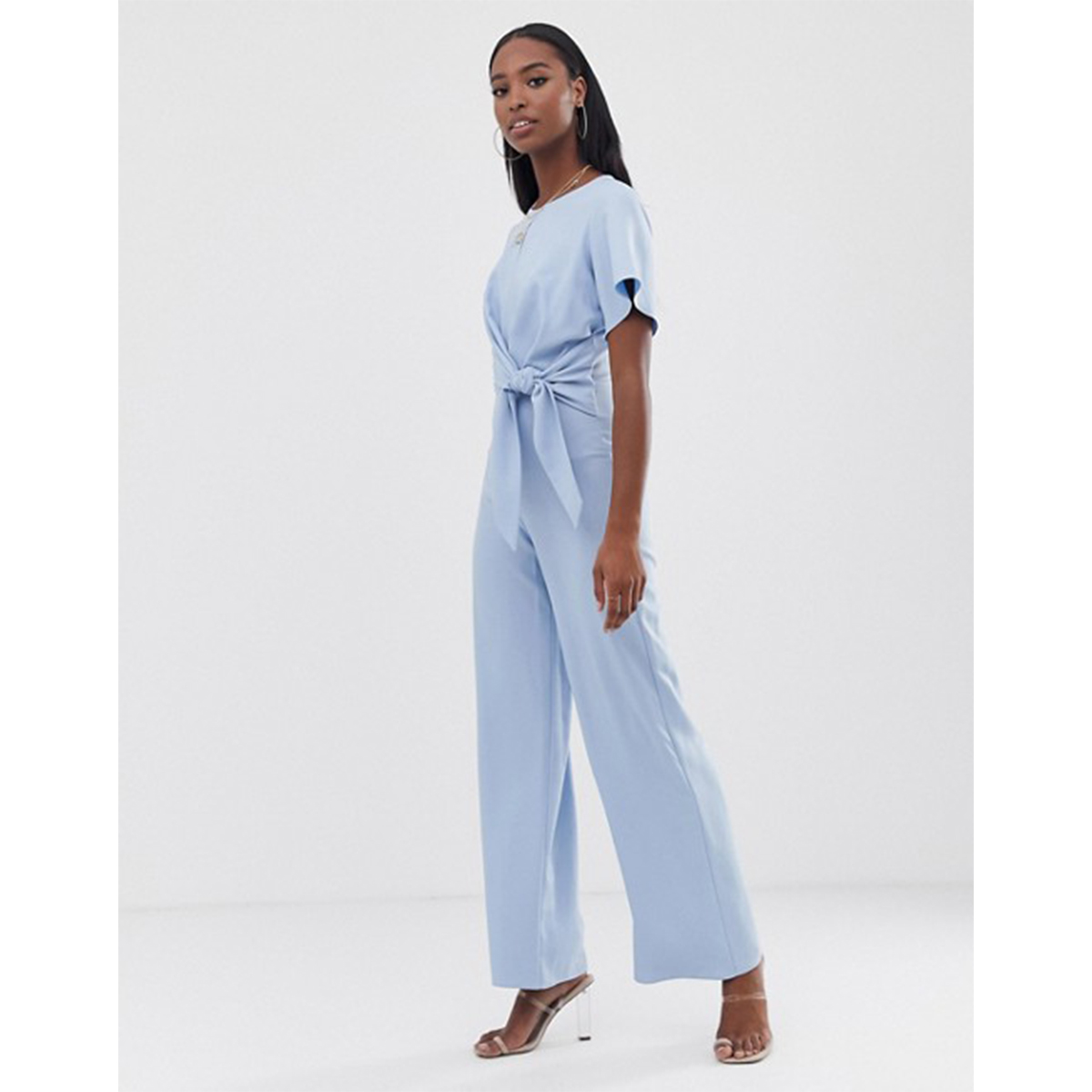 Missguided Tall Tie Detail Jumpsuit in Blue