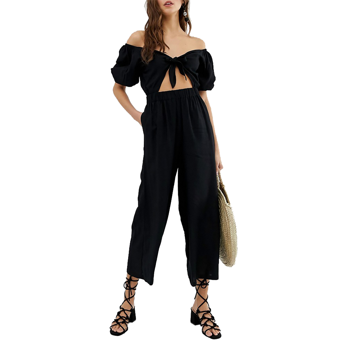 ASOS Design Tea Jumpsuit With Puff Sleeve