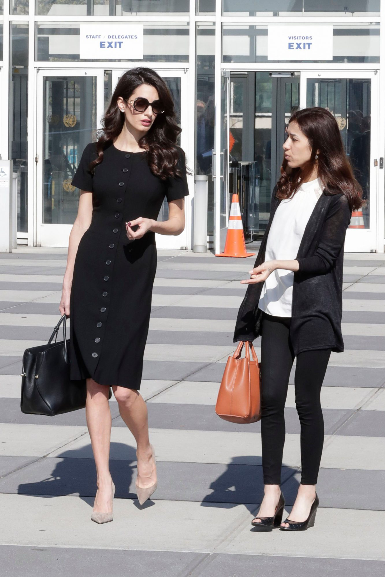 Amal Clooney Channels Jackie Kennedy Onassis in Business-Chic LBD