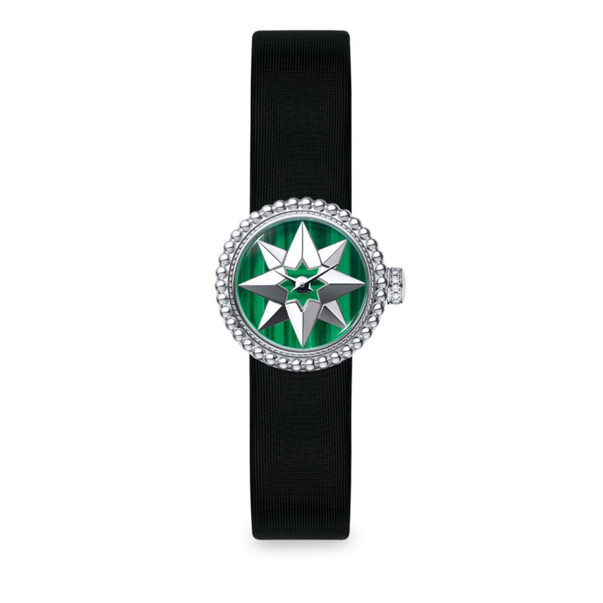 La Mini D de Dior Rose De Vents Malachite & Satin Watch