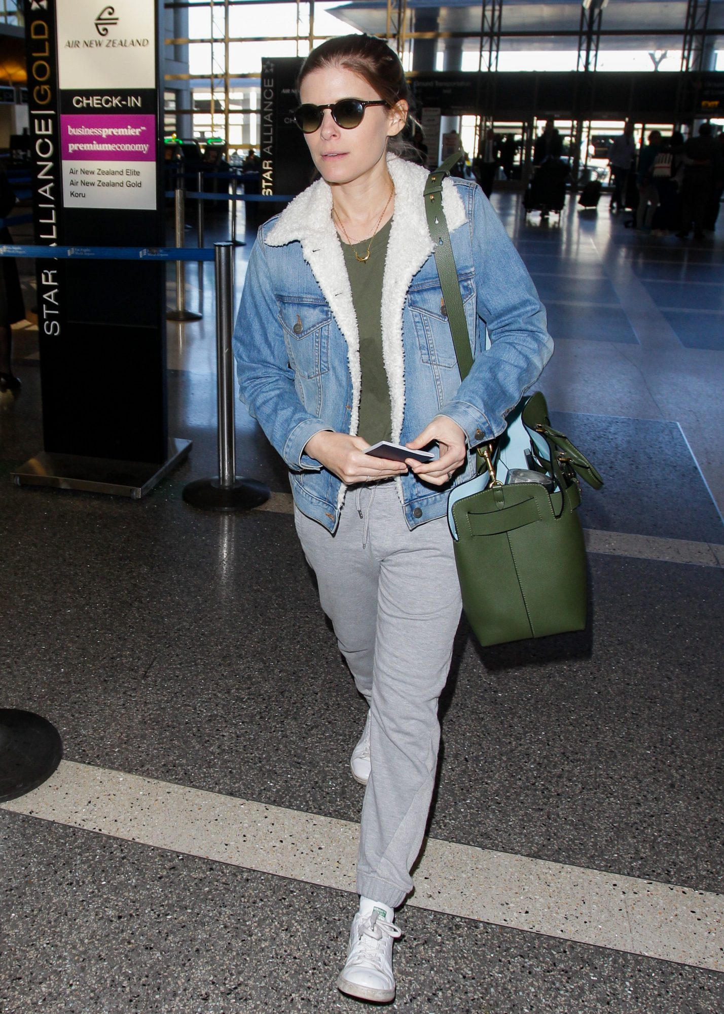Kate Mara in Levi's Shearling Denim Jacket