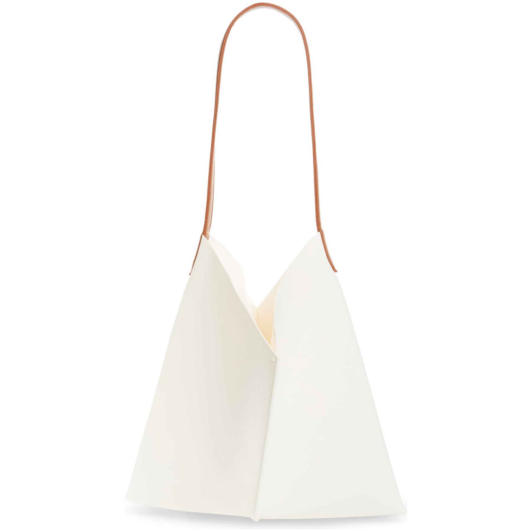 BP. Center Seam Faux Leather Tote in Ivory Dove