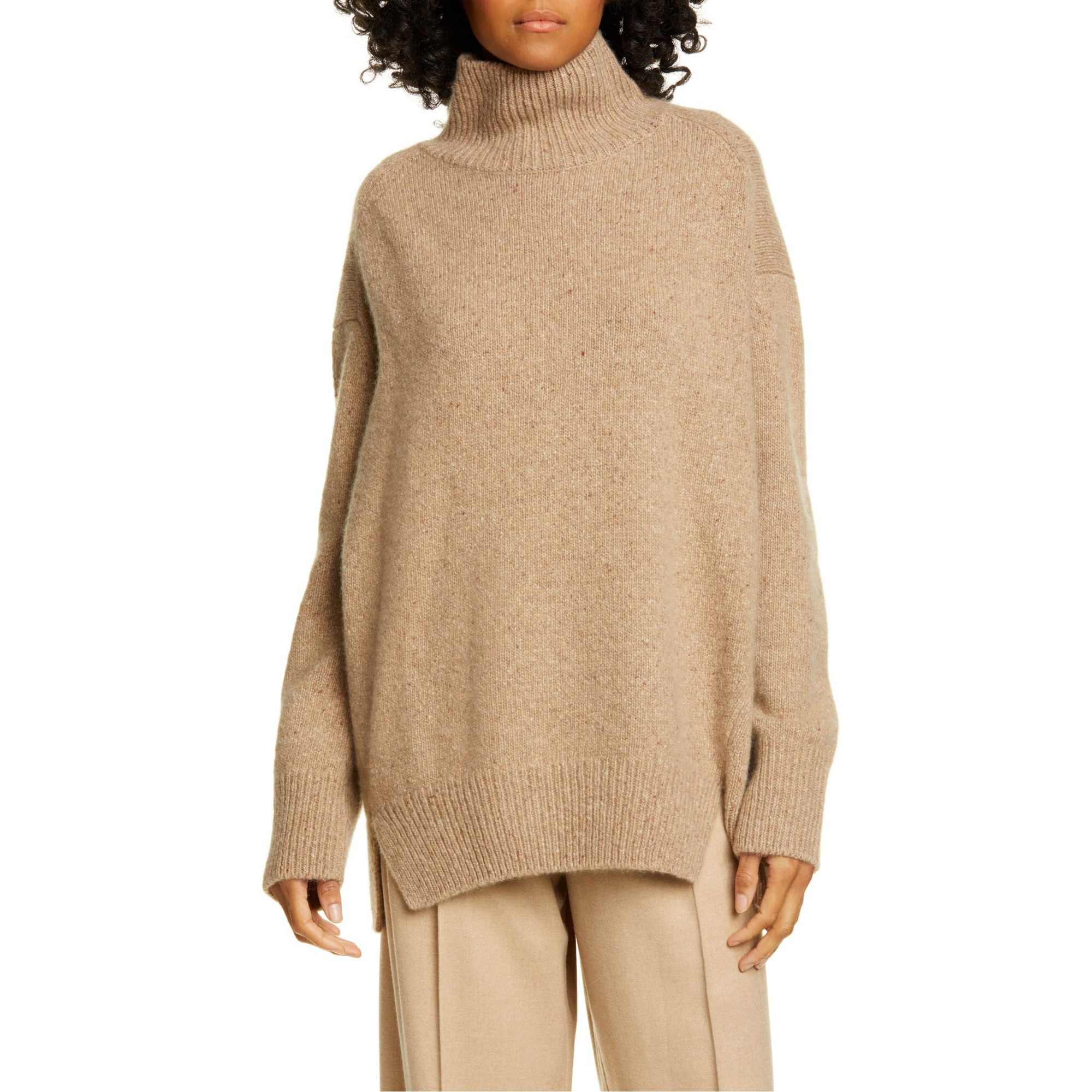 Vince Double Slit Cashmere Turtleneck Sweater in Camel