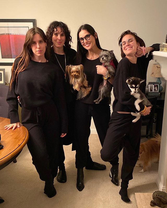 Demi Moore and Her Daughters Wear Naked Cashmere Matching Outfits