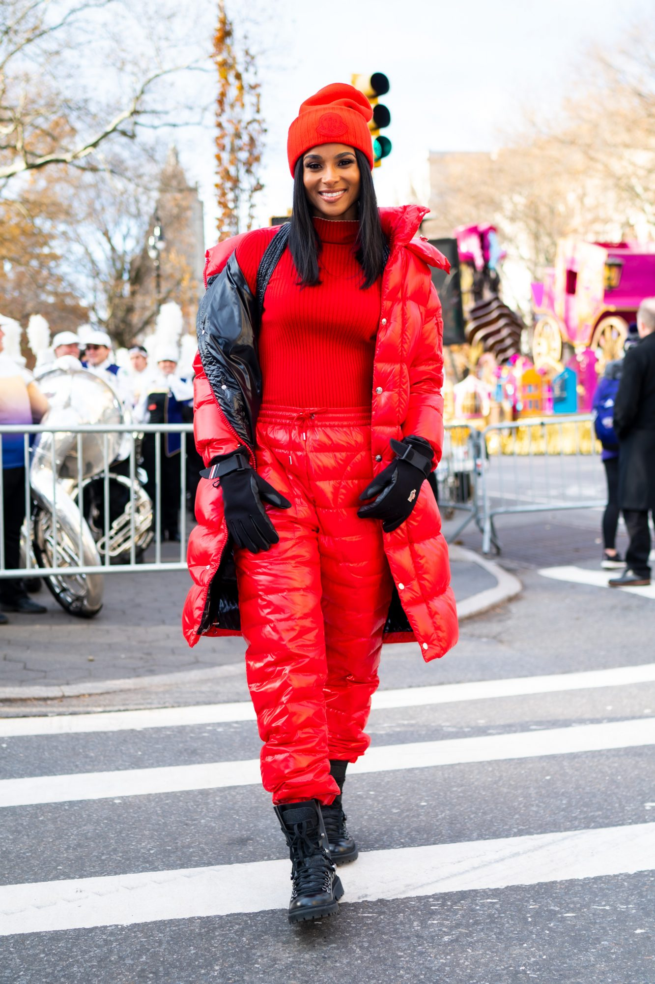 Ciara Wears a Red Puffer Jacket