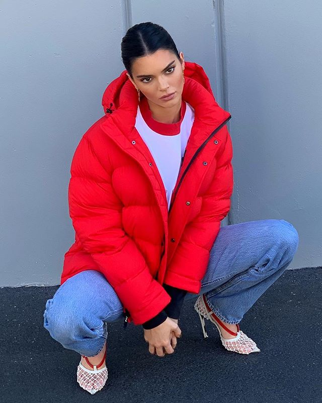 Kendall Jenner a Red Puffer Jacket
