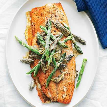 Grilled King Salmon with Asparagus, Morels, and Leeks
