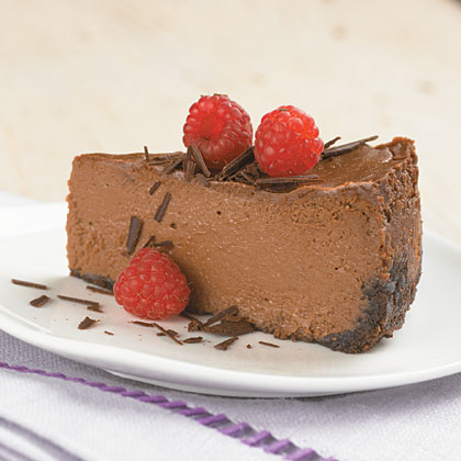 Triple-Chocolate Cheesecake RecipeChocolate syrup, semisweet chocolate and chocolate graham cracker crumbs provide ultra-chocolate flavor to this creamy cheesecake. And, at only 260 calories per slice, you don't have to feel a bit of guilt.