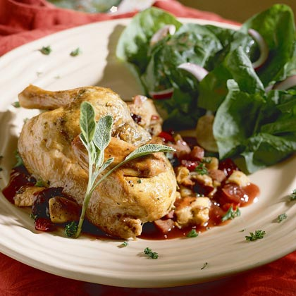 Game Hens with Fruit-and-Sausage Stuffing Recipe