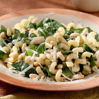 Cavatappi with Spinach, Beans, and Asiago Cheese