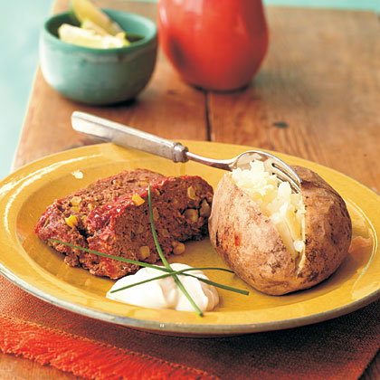Southwestern Meat Loaf and Baked Potatoes