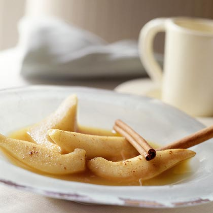 Caramel Pears RecipeSimmer ripe Bosac pears in a vibrant four-ingredient sauce, then add a splash of white rum for an extra hint of sweetness. Serve with cinnamon sticks for a company-worthy garnish.