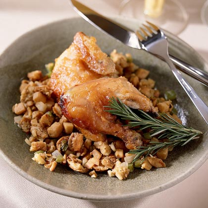 Quince-Glazed Cornish Hens