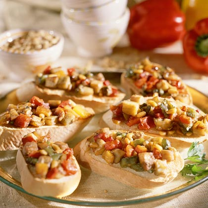 Crostini With Roasted Vegetables and Pine Nuts