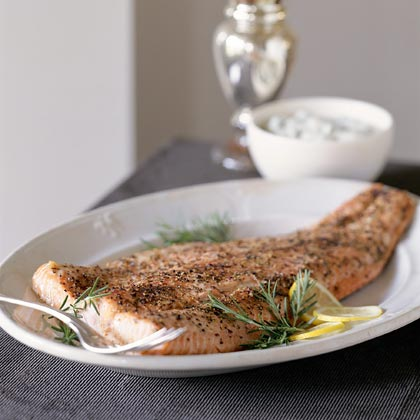 Pepper-Roasted Salmon With Mustard-Herb Cream Sauce