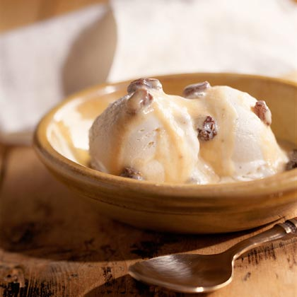 Frozen Yogurt With Rum-Raisin Sauce