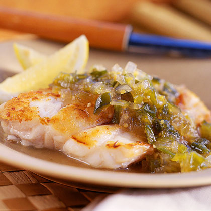 Grouper with Tomatillo-and-Green Chile Chutney Recipe