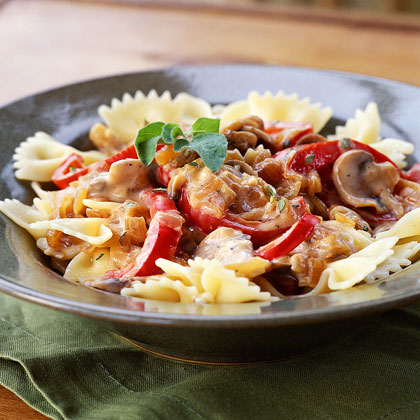 Pasta with Caramelized Onions, Mushrooms, and Bell Pepper