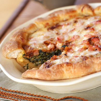 Caramelized-Onion, Spinach, and Bacon Quiche Recipe