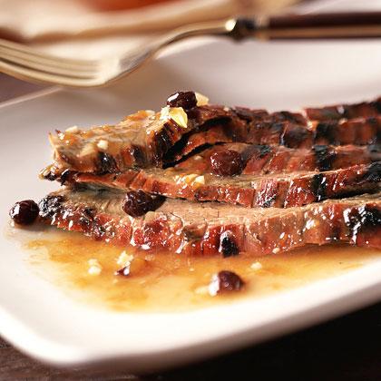 Barbecued Flank Steak with Chutney-Bourbon Glaze