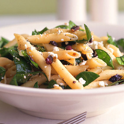 Penne with Spinach, Feta, and OlivesRecipe