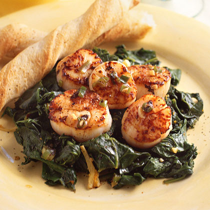 Pan-Seared Scallops with Ginger-Orange Spinach