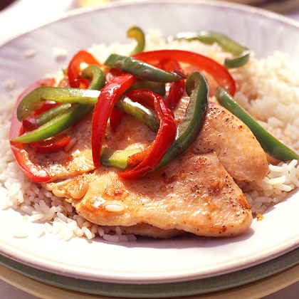 Glazed Turkey Cutlets and Bell PeppersRecipe