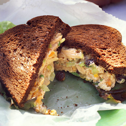 Apricot-Nut Turkey-Salad Sandwiches RecipeUse pre-cooked turkey breast to update the classic salad sandwich. The combination of crunchy cashews, sweet apricots, and low-fat yogurt adds a great finishing touch to this delicious sandwich. Serve on pumpernickel bread for extra flavor.