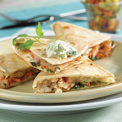 Chicken Quesadillas with Fruit Salsa and Avocado Cream