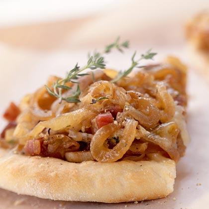 Fontina, Caramelized-Onion, and Pancetta PizzaRecipe