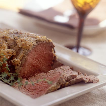 Beef Tenderloin with Horseradish-and-Roasted Garlic CrustRecipe
