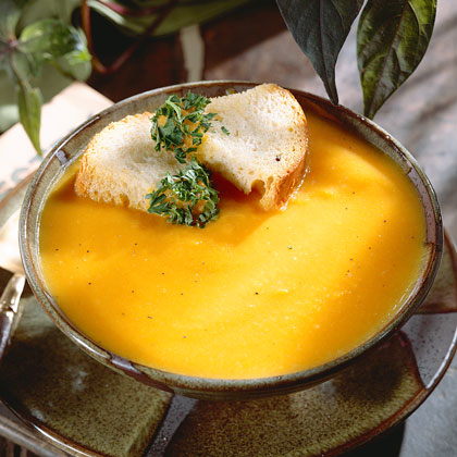 Carrot-And-Butternut Squash Soup With Parsleyed Croutons Recipe